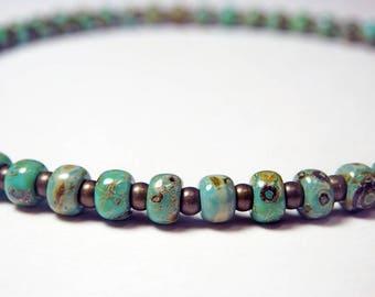 Turquoise Seed Bead Bracelet - Green Turquoise Bracelet - Green and Brown Bracelet - Small Bead Bracelet - Stacking Bracelet - Girls - Plus