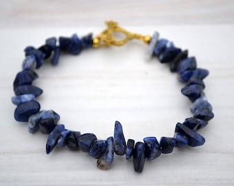Sodalite bracelet, Sodalite beaded bracelet, Sodalite jewelry, Sodalite gift, Genuine sodalite bracelet, Blue sodalite bracelet.