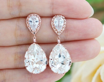 Wedding Jewelry Bridal Earrings Bridesmaid Earrings Dangle Earrings Rose Gold plated Clear White Swarovski Crystal Tear drop Earrings
