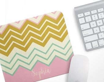 Fabric Mousepad, Mousemat, 5mm Black Rubber Base, 19 x 23 cm - Pink Chevron Stripes Pattern Customised Mousepad Mousemat