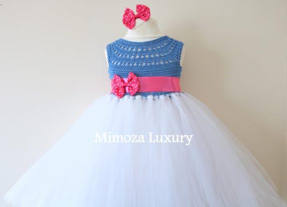 SALE size 18-24m Ready to ship, Blue Flower girl dress tutu dress,  bridesmaid dress, princess dress, crochet top tulle