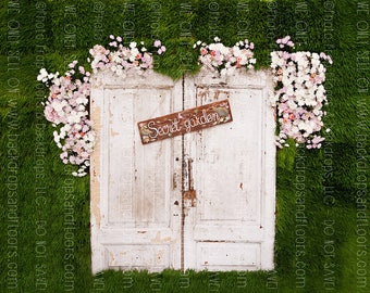 Secret Garden Door Photography Backdrop, Enchanted, Princess, Fairy Tale, Spring, Summer, Vines, Vinyl, Poly Paper, Fleece