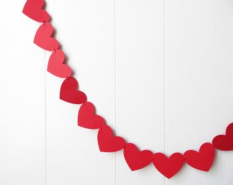 Pre-made Ready To Ship Red Heart Garland / Wedding Decoration / Love Bunting / Anniversary Decor / Photo Prop / Adjustable Hand Sewn