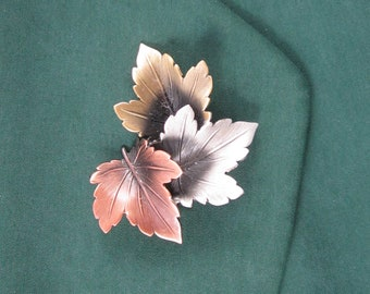 Maples Leaves Brooch- Leaves Jewelry- Fall Leaves- Autumn Leaves- mixed metal jewelry