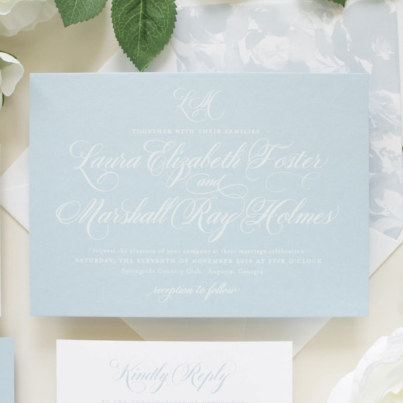 Dusty Blue Wedding Invitations, Script Monogram, Traditional Invitation Suite for Nautical Theme Beach Weddings | SAMPLE | Beloved