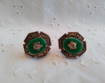 Vintage Green with Rhinestones Screw Back Earrings in gold tone