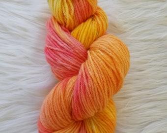 Yarn- Wisconsin Sunset- Worsted/Aran 100% Peruvian wool, hand dyed yarn, ready to ship, OOAK, variegated yarn, Orange Pink Red yarn Feltable