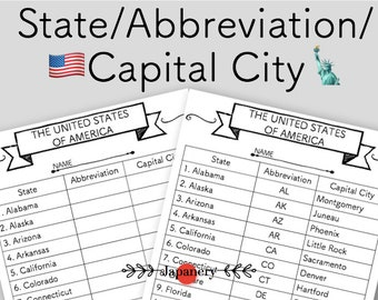 USA State Abbreviation/Capital City Chart|Handout|Printable