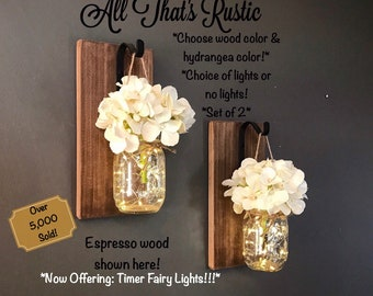 Rustic Home Decor, Home & Living, Set of 2 Hanging Mason Jar Sconces with Hydrangeas, Mason Jar Decor, Timer Lights, Mason Jar Sconces