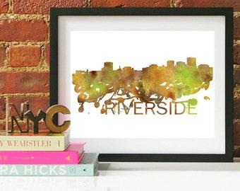 Riverside Watercolor Skyline, Riverside Skyline, Riverside Art, Riverside Poster, Riverside Print, Riverside Art, Riverside Map, Riverside