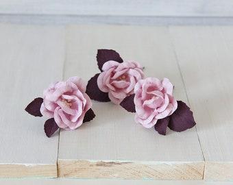 Purple floral hair pins, flower hair pins, wedding hair pins, paper flower hair pins, Floral hair clip, purple rose hair pin Rose hair piece