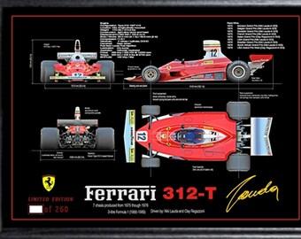 """Niki Lauda signed autographed Memorabilia Large FRAME A3 (19""""x14"""") Ferrari F1 Champion"""