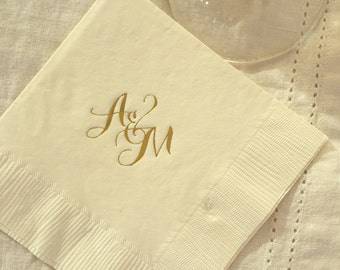Script Monogrammed Napkins | Newlyweds | Wedding or Personalized Home Gift | Darby Cards