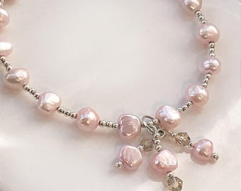 Sterling silver, pale pink fresh water pearl bracelet, a gorgeous gift