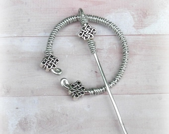Celtic Pin Viking Shawl Penannular Silver Cloak Mimimalistic Brooch Vintage Hammered Minimalist Outlander  Style Scarf Pin Stick