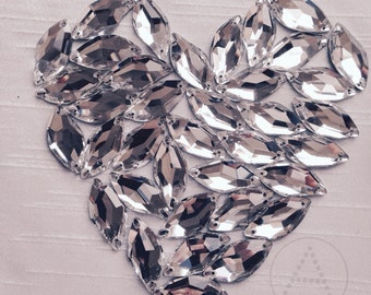 14mm x 30mm Diamond Leaf,  12pcs Clear Crystal,  Sew On embellishment  flatback