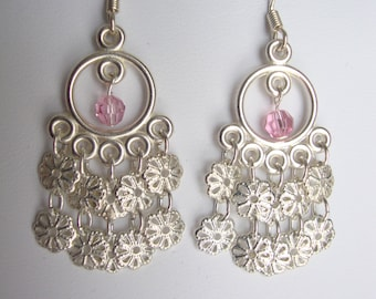 Silver Flower Chandelier Earrings FREE Shipping