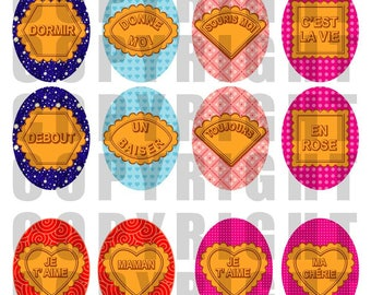 48 digital images for jewelry MESSAGES cakes humor - size oval love MOM
