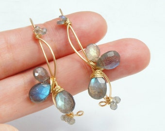 Labradorite Large Gold Hoop Earrings, Gray Natural Stone Jewelry, Wire Wrapped Earrings