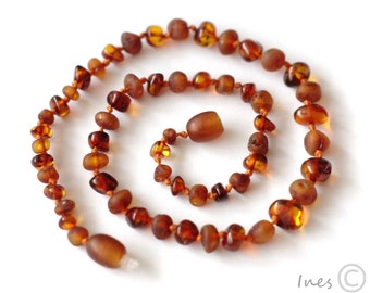 Baby Amber Teething Necklace, 100% Genuine Baltic Amber, Screw or Pull Out Clasp