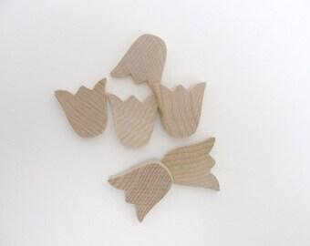 Tulip cutout wood diy unfinished set of 6