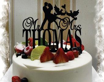 Cake Topper for Wedding ,Wedding Cake Topper, Customized Wedding Cake Topper, Personalized Last Name Cake Topper, Mr and Mrs Cake Topper #82