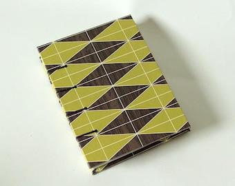 Geometric Faux Bois Avocado Green Coptic Blank Book - Fake Woodgrain Journal Notebook