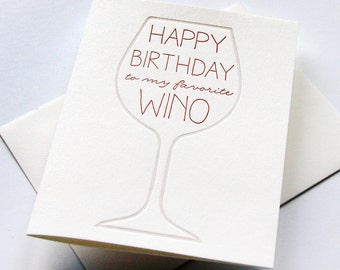 Letterpress Birthday Card - Wino Bday