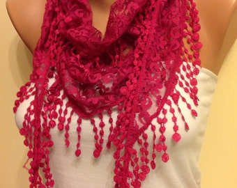 Fuchsia Lace Scarf, Gift Scarf, Turkish Fabric floral pattern, rich lace edge,  Best Gift, Gift for Girlfriend, Dark Pink Scarf