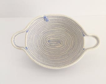 Blue, All-Natural, Decorative, Coiled Rope Basket with Two Handles