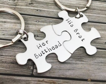 His Brat Her Butthead, Couples Keychains, Puzzle Keychains, Couples Gift, Fun Gift, Fiance Gift