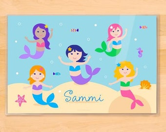 Personalized Placemat for Kids, Mermaid Placemat, Olive Kids, Laminated Placemat, Kids Placemat, Ocean Placemat, Custom Placemat, Mermaids