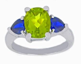 4 Ct Peridot Oval & Blue Sapphire Heart Ring .925 Sterling Silver Rhodium Finish