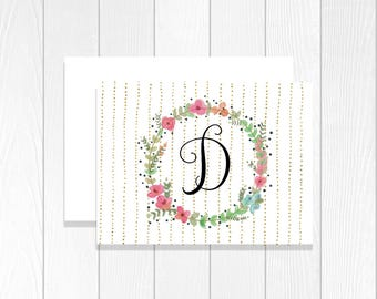 Custom Stationary for Women With Envelopes Monogram Notecards Stationary Set Notecards Personalized Note Cards Folded Cards