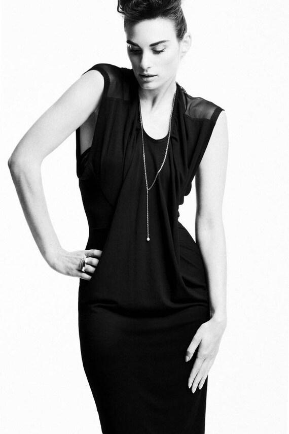 Africa Dress, eco bamboo & sheer mesh, hand made, little black dress.