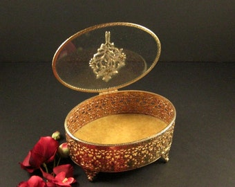 Oval Ormolu Jewelry Casket with Decorated Prong Set Glass Lid