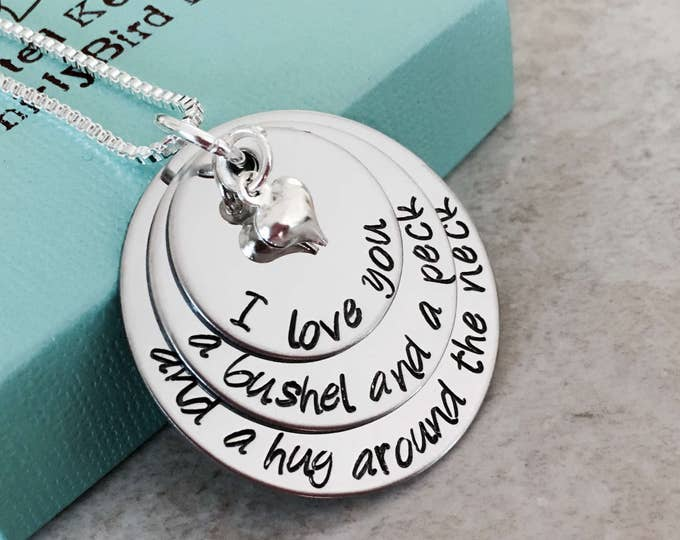 Featured listing image: SALE!!!!  I love you a bushel and a peck and a hug around the neck personalized necklace hand stamped mom daughter grandma