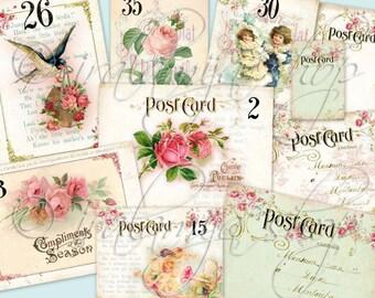 ANTIQUE CARDS collage Digital Images  -printable download file-