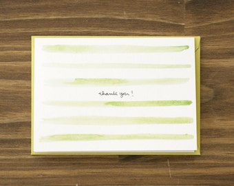 watercolor stripes green thank you note
