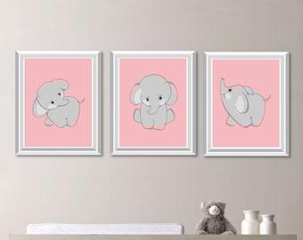 Baby Girl Nursery Art Print - Girl Nursery Decor - Nursery Art - Elephant Decor - Elephant Nursery Art - Elephant Nursery Decor (NS-774)