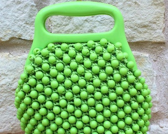1960s Italian Handbag In Lime Green Raffia ... Beaded And In Excellent Condition