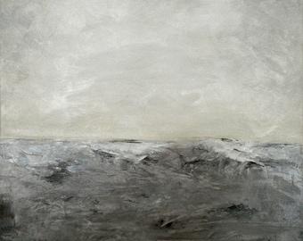 "Ocean art print waves water beach wall decor shore home decor gray ocean wall art print.  ""Breakers"""