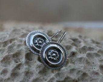 Silver Earrings, Romantic Style, Silver Flower, Silver Jewelry, , Handmade 925 Silver Earrings