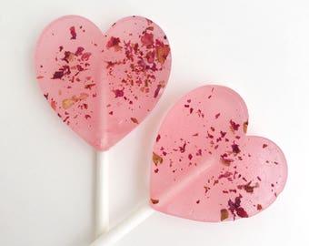 Spring Wedding Favor - Edible Flower -  Rosé & Roses Lollipops - Heart Lollipops -Roses Lollipops -Rosé Lollipops - Real Rosé - Set of 10