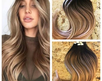 """Full Cuticle Remy Double Drawn Balayage Ombre Tape-in Seamless weft 20"""" Hair Extensions 40pcs"""