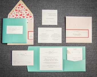 "Blush and Aqua Wedding Invitations, Summer Invitation Suite, Blush and Coral, Pocketfold Heart Invite - ""Romantic Flourish"" PF-NL-v2  SAMPLE"
