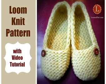 Loom Knitting Patterns Ladies Slippers with Video Tutorial by LoomaHat