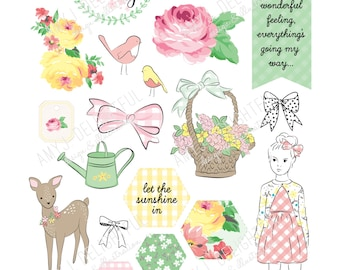 Printable SPRING PLANNER die cuts! - Digital File Instant Download- Happy Planner, ephemera, pastels, collage, scrapbooking, bando, roses