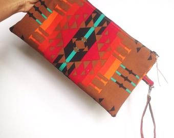 Boho Clutch Purse- Wristlet - Zipper Clutch- Aztec Print - Modern Clutch