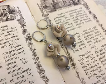 Earrings ' taupe handcrafted pink ear